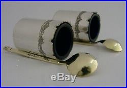 Rare Silver Salt Cellars & Spoons 1981 Modernist Vera Honeker Lady Silversmith