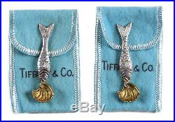 Rare Tiffany & Co. 925 Sterling Silver Salt & Pepper Fish Cellars with Spoons