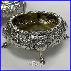 Rare Vintage Sterling Silver Kirk Repousse Pair Of Open Salt Cellars 1830-1846