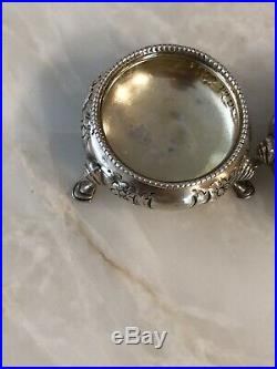 Robert Harper London Antique Sterling Silver Open Footed Salt Cellars 1870
