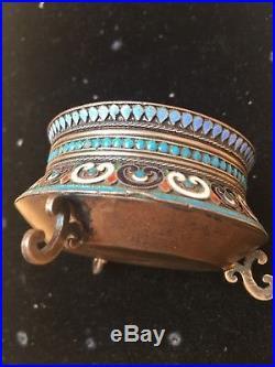 Russian Empire Antique Silver Filigree Enamel Salt Cellar Moscow 1893