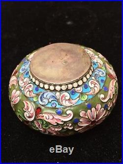 Russian Empire Antique Silver Painted Enamel Salt Cellar