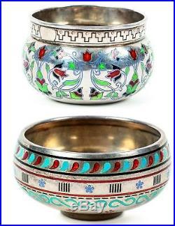 Russian Imperial Silver Enamel Art Nouveau Salt Cellar 11th Artel