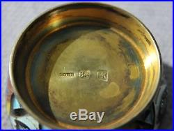 Russian Royal Imperial Tsar 84 Enamel Salt Cellar Holder Spoon Kovsh Ladle Cap