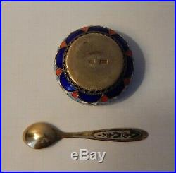 Russian Silver 916 Salt Cellar Sowjet Russia enamel Soon gold plated old blue