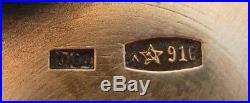 Russian Ussr Cloisonne Enamel Silver 916 Open Salt Cellar Plus Enameled Spoon