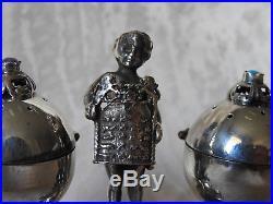 Russian silver jewish salt and pepper cellar silver 84 1873 cupid boy Tora