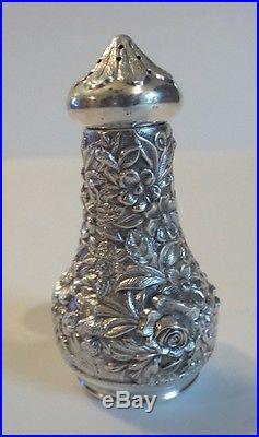 S. Kirk & Son Repousse Sterling Silver Salt Cellar, Pepper Shaker & Salt Spoon