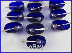 SET 10 ELEGANT ENGLISH STERLING SILVER SALT CELLARS With COBALT BLUE GLASS LINERS