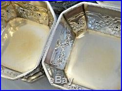 SET OF 6 STERLING SILVER OCTAGONAL OPEN SALT DISHES With SWAGS & FLOWERS, DURGIN