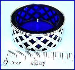 SET OF 8 VINTAGE STERLING SILVER SALT CELLARS With COBALT BLUE GLASS LINERS #716