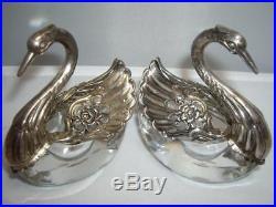 STERLING SILVER/CRYSTAL Swan Salt Cellars SET/2 Raimond 925 GERMANY VINTAGE