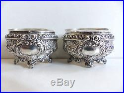 SUPERB PAIR of ANTIQUE FRENCH SOLID SILVER 950 SALT CELLARS c. 1890's
