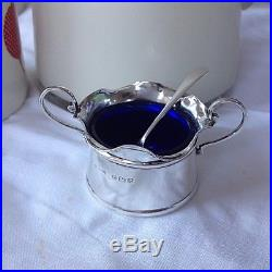 Salt Cellars Pair English Sterling Silver 1906 with Spoons