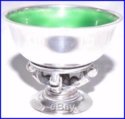 Salt Celler Acorn Green Enamel On Pierced Stemm Georg Jensen Sterling Silver No