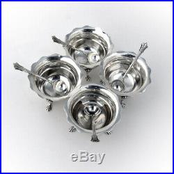 Salt Dishes and Spoons Set of 4 Sterling Silver Birmingham 1902