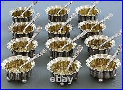 Set 12 TIFFANY Sterling OPEN SALTS with SALT SPOONS c1880