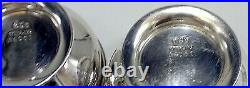 Set/2 Gorham Sterling Silver Strasbourg Pattern Salt Cellars With Spoons 4 Pcs