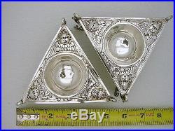 Set 2 Sterling Renaissance Style Master Salt w figural Angels European Hallmarks