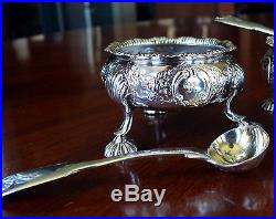 Set 4 18th Century London Sterling Silver Open Salts with 4 Salt Spoons