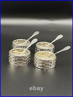 Set 4 Antique TIFFANY STERLING Silver Italy Basket Weave SALT CELLARS & SPOONS