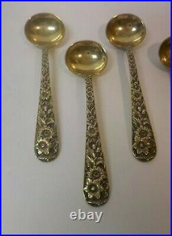 Set/4 S. Kirk & Son REPOUSSE Sterling Silver Gilded Salt Spoons