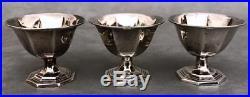 Set (6) Antique 925 Sterling Silver Salt Cellars+Spoons Serving Dish Monogram P