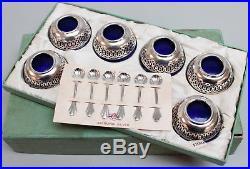 Set 6 Webster Co Sterling Silver-Blue Cobalt Glass Salt Cellars withSpoons & Box