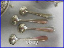 Set Four Kirk Repousse Sterling Silver Tripod Salt Cellar And Spoons No Monogram