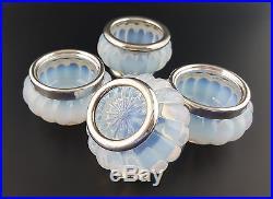 Set French Antique Bulle de Savon Opaline, Sterling Silver Salt Cellars c. 1900