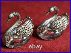 Set Of 2 Vintage Sterling Silver And Crystal Swan Salts + Cherub Silver Spoons