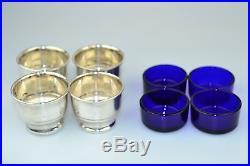 Set Of 4 Antique Sterling Silver Salt Cellar Dishes With Cobalt Blue Glass Liner