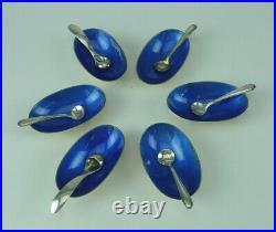 Set Of 6 Footed Sterling Silver & Blue Enamel Salt Dips & Spoons ONC