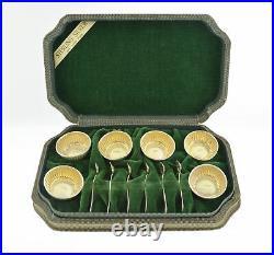 Set Of 6 Sterling Silver Vermeil Salt Pepper Cellars With Spoons Original Box
