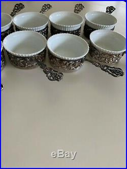 Set of 12 Antique Silver Salt Cellars with Handles & 11 French Porcelain inserts