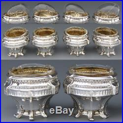 Set of 4 Antique French Sterling Silver & Cut Glass Open Salt Set, Empire Style