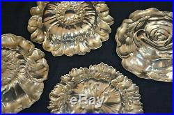 Set of 4 Gorham Sterling Silver Flowers Salt Cellars Mint or Nut Dishes