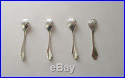 Set of (4) Vintage Never-Used Sterling Silver Salt Cellars With Spoons