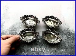 Set of 4 x Silver Antique 1912 James Dixon & Sons Individual Salt Cellars