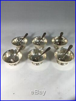 Set of 6 Sterling Silver Salt Cellars and Spoons Gold Wash Bowl. TWR