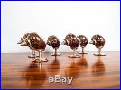Set of 6 Vintage Snail Sterling Silver Clad Shell Salt Dips Open Cellar 925