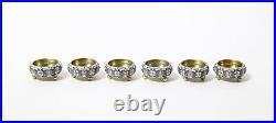 Set of 6 salt cellar with spoons. Silver gilding. Russia, Ovchinnikov, 1899-1908
