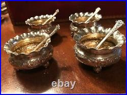 Set of Four (4) Antique Victorian Sterling Silver Salt Cellars & Original Spoons