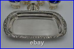 Set of Four Silver Plated Salt Cellars Cobalt Blue Glass-Spoons-Tray-Candle Hold