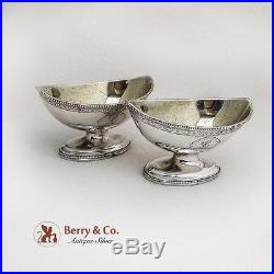 Sheraton Style Salt Dishes Pair William Stroud Sterling Silver London 1787