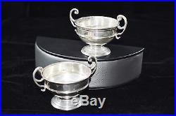 Signed Sterling Silver Open Sugar Bowl Dish Set of 2 #807