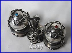 Silver russian jewish salt and pepper cellar silver 84 1873 stones