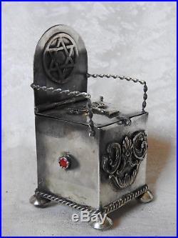 Silver russian jewish salt cellar with spoony silver 84 1878
