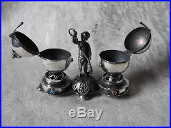 Silver russian salt and pepper cellar with cupidboy silver 84 balsaminka 1873