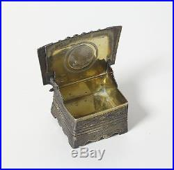 Solid silver salt cellar in a shape of a chair with the proverb. Moscow, 1875